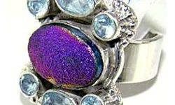 $40 Silver and Blue Topaz & Titanium Drusy Ring