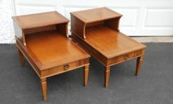 $43 Pair Vintage Provincial Style Step End Table ~ Solid