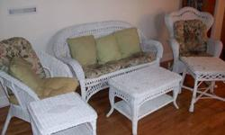 $450 6 Piece White Wicker Furniture with Cushions