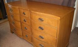 $450 Large 12-drawer Henredon Dresser with bowed front