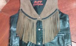 "$45 ""Hot Leathers"" Ladies Black and Brown Size M Vest"