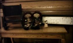 $45 Ragg & Andy Rustic doll set w/wooden bench and wall sign