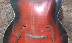 $45 Vintage Harmony Archtop Guitar for Parts or Restoration.