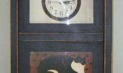 $45 Warren Kimble Fat Cat Print Wall or Table Clock