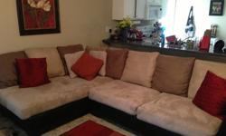 $475 L-Shaped Couch and Round Swivel Chair for Sale