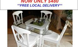 $480 Beautiful Plantation Style Glass Top Dining Set by