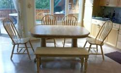 $480 Solid light oak dining table, chairs, & bench