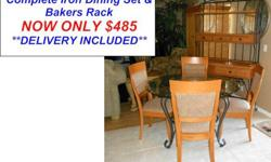 $485 Beautiful Iron Glass Top Dining Set Complete with