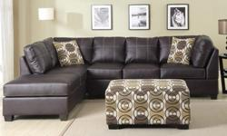 $499 Modern Leather 2-Piece Sectional Sofa with Throw