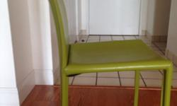 4 Leather Green Side Chairs