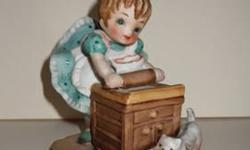 $4 Little Pastry Chef with cat. Hand-painted china figurine.