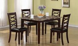 5-Pc Dining set/ Faux marble top in Dark Cherry Finish