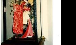 $500 1925-1985's Japanese Geisha Doll with Glass Case
