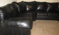 $500 OBO Black leather sectional