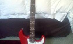 $50 Fender Starcaster electric guitar. red. looks new