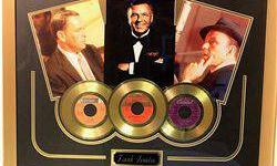 $50 Framed Autograph Frank Sinatra Gold Record Trio