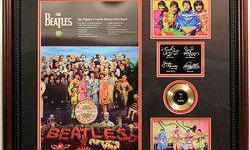 $50 Framed Autographed The Beatles Mini Gold Record Collage