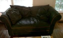 $50 Green Leather Loveseat