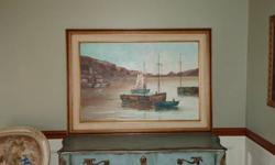 $50 Sailboats oil painting framed and signed by Mary Botto