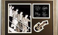 $50 The Beatles Giclee, mini guitar & engraved signatures