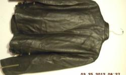 $50 Women's Black Leather Motorcycle Jacket - Size Large