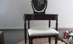 $55 Vanity ~ Antique Mahogany ~ w/Mirror & Upholstered Bench