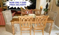 $580 OBO Tommy Bahama Style Wood Dining Set with Extra Leaf
