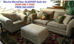 $590 Sensation Mocha MicroFiber Sleeper Sofa Set by Kevin