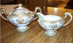 $5 2 PC. Nippon Sugar and Creamer, White W/Gold Decorations