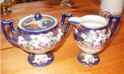 $5 Nippon Cream and Sugar, Blue W/Purple Flowers