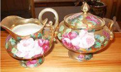 $5 Nippon Cream and Sugar, Gold W/Rose Design