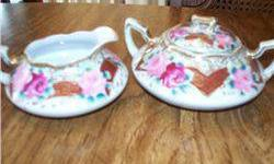 $5 Nippon Cream and Sugar W/Roses and Maroon Chevron Pattern