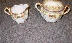 $5 Nippon Cream and Sugar W/White Roses and Gold Trim