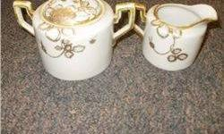 $5 Nippon Cream and Sugar, White W/Raised Gold Flowers