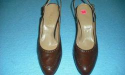 $5 Womens brown dress shoes - 8 1/2 narrow - sling back