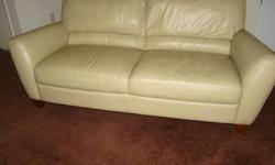 $600 Green Leather Sofa and Recliner (Macy's)