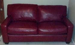$600 OBO Red Leather Couch (with Sleeper) - Apartment Size
