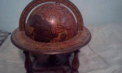 $60 World Globe Wooden Made In Italy