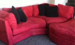 $650 Red contemporary microfiber sectional