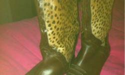 $65 Brown leather with leopard calf hair on sides size 9