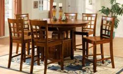 $699 UDLEY 7PC RECTANGULAR DINING DINETTE SET TABLE+6WOOD