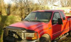$6,200 1999 F250 4wd Diesel,extended cab- 235,000 mi- red