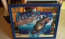 $70 Busch Beer Large Mouth Bass Mirror (Central City ,Ne)