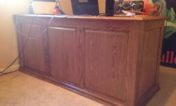 $750 Solid Oak, Three Panel Executive Desk W/Matching