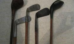 $75 5 Vintage Wooden Shafted Golf Clubs