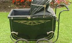 $75 Antique Vintage Baby Carriage Pram Metal Wood Leather