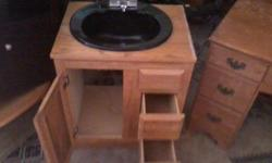 $75 Black Bathroom Sink with Wood cabinet and storage (MWC)