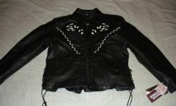 $75 ladies NWT leather motorcycle jacket