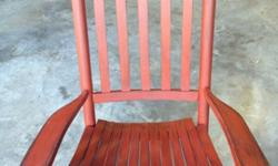 $75 Solid Oak Rocking chair refinished in Red