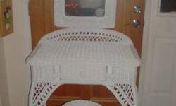 $75 Wicker Vanity with Mirror and Stool